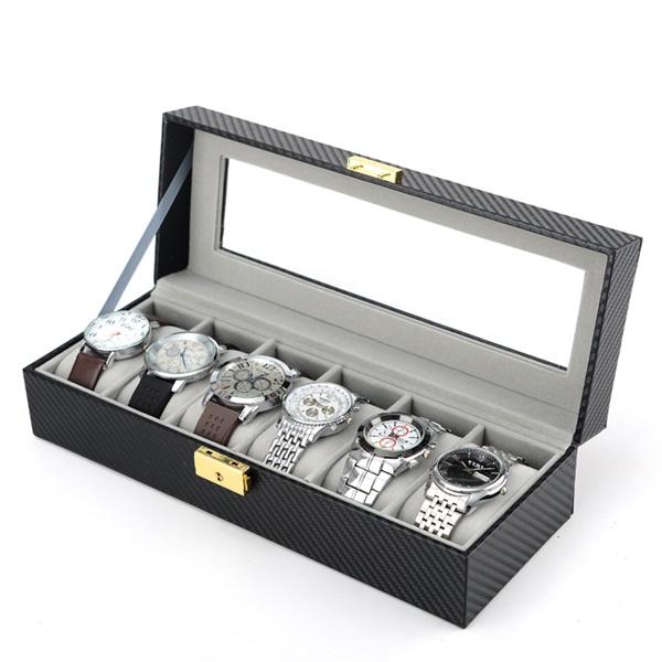 시계보관함 시계케이스 시계정리함 6구 빨간실봉제 카본무늬